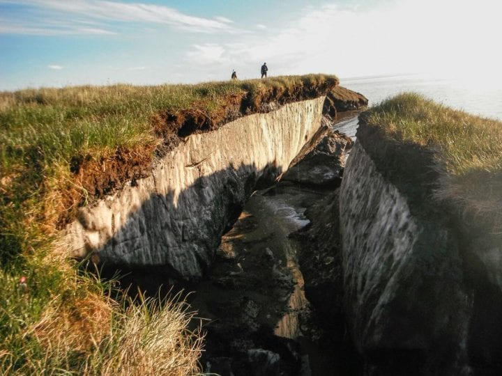 Coastal erosion reveals the extent of ice-rich permafrost underlying active layer on the Arctic Coastal Plain in the Teshekpuk Lake Special Area of the National Petroleum Reserve - Alaska. Credit: Brandt Meixell, USGS