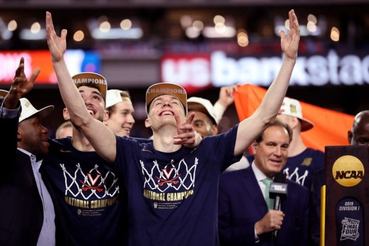 Kyle Guy celebrates after Virginia wins the NCAA National Championship