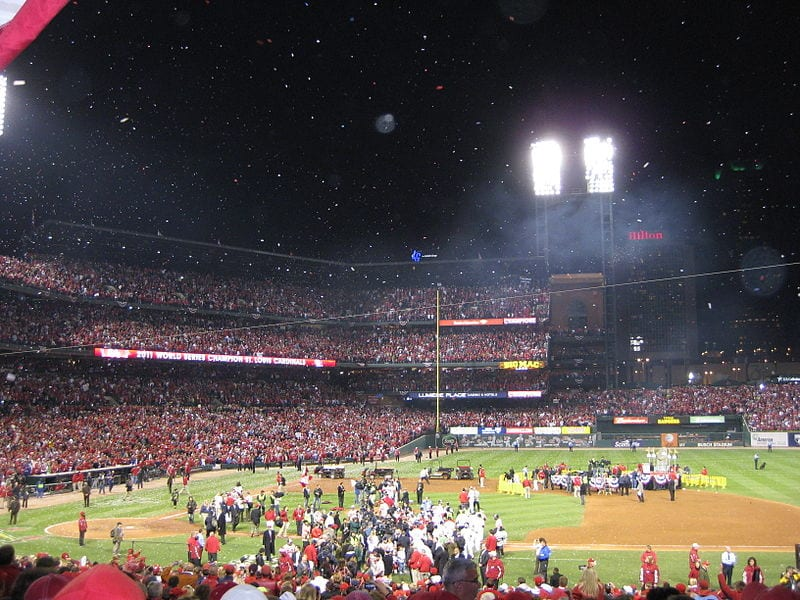 The St. Louis Cardinals celebrate their World Series win in 2011