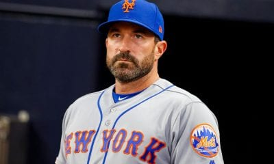 ATLANTA, GA - APRIL 12: Manager Mickey Callaway of the New York Mets looks on before the seventh inning of an MLB game against the Atlanta Braves at SunTrust Park on April 12, 2018 in Atlanta, Georgia. (Photo by Todd Kirkland/Getty Images)