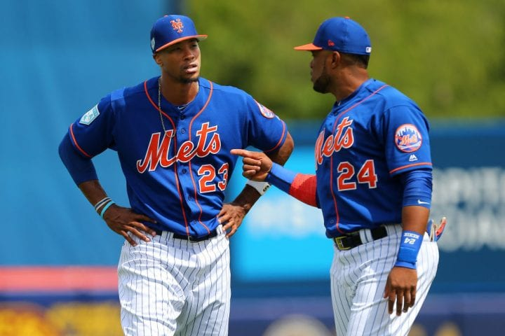 PORT ST. LUCIE, FL - MARCH 15: Keon Broxton #23 and Robinson Cano #24 of the New York Mets during a spring training baseball game against of the Washington Nationals at First Data Field on March 15, 2019 in Port St. Lucie, Florida. The Nationals defeated the Mets 11-3. (Photo by Rich Schultz/Getty Images)