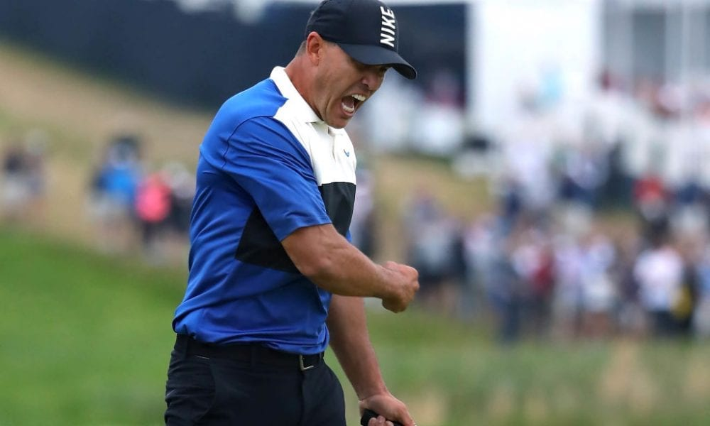 FARMINGDALE, NEW YORK - MAY 19: Brooks Koepka of the United States celebrates winning on the 18th green during the final round of the US PGA Championship at Bethpage Black Golf Course on May 19, 2019 in Farmingdale, United States. (Photo by Warren Little/Getty Images)