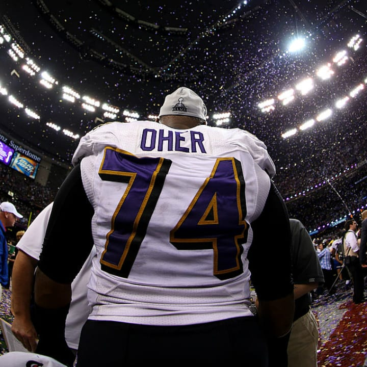 Michael Oher at the Super Bowl