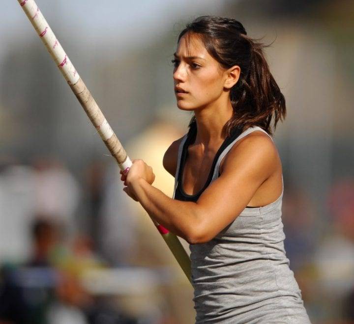 Allison Stokke looks on as she prepares for her next vault