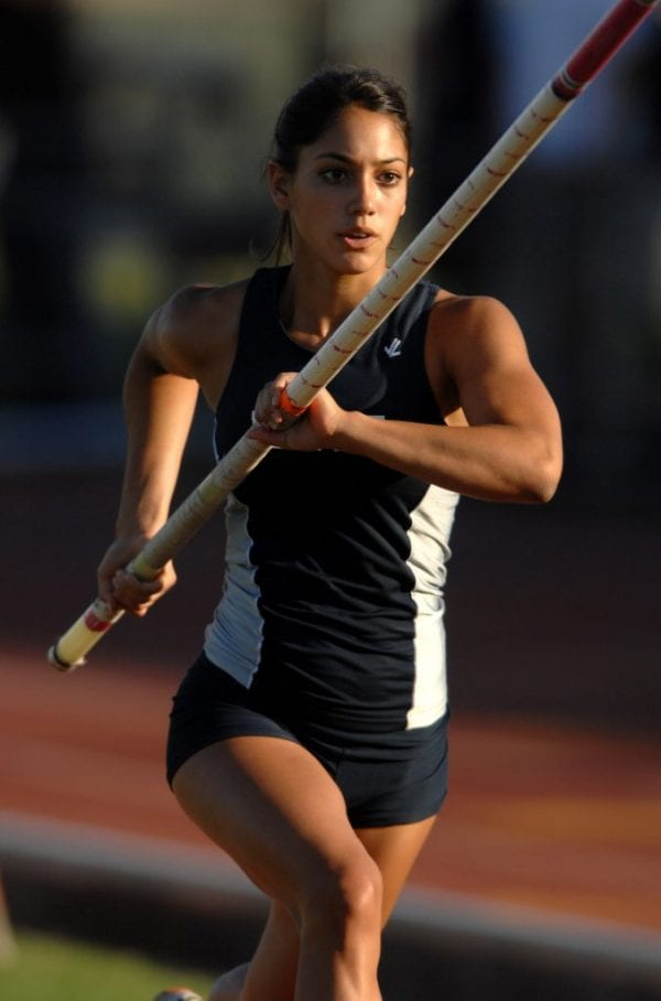 Allison Stokke sprints down the runway, preparing for takeoff