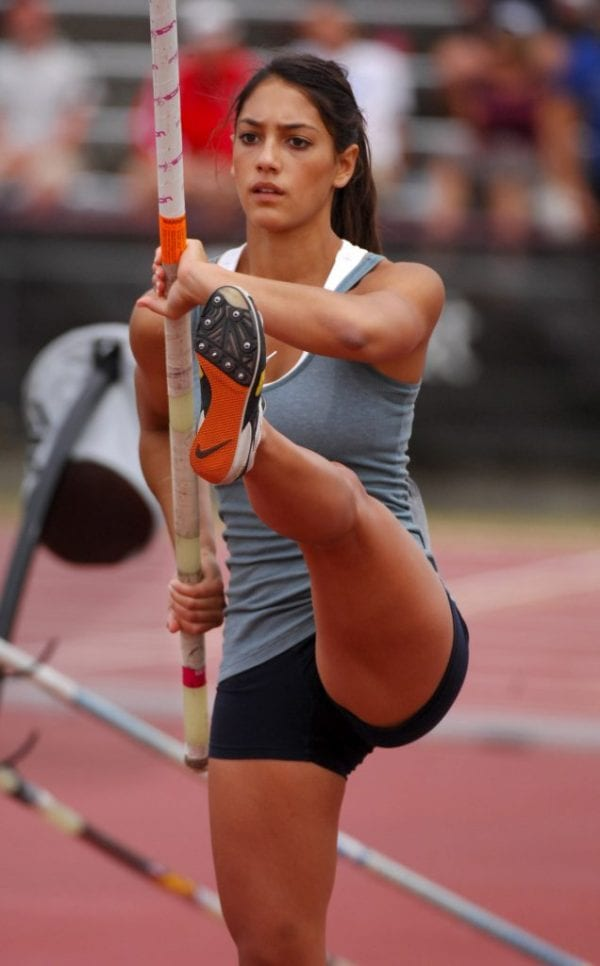 Allison Stokke warms up before she attempts a pole vault