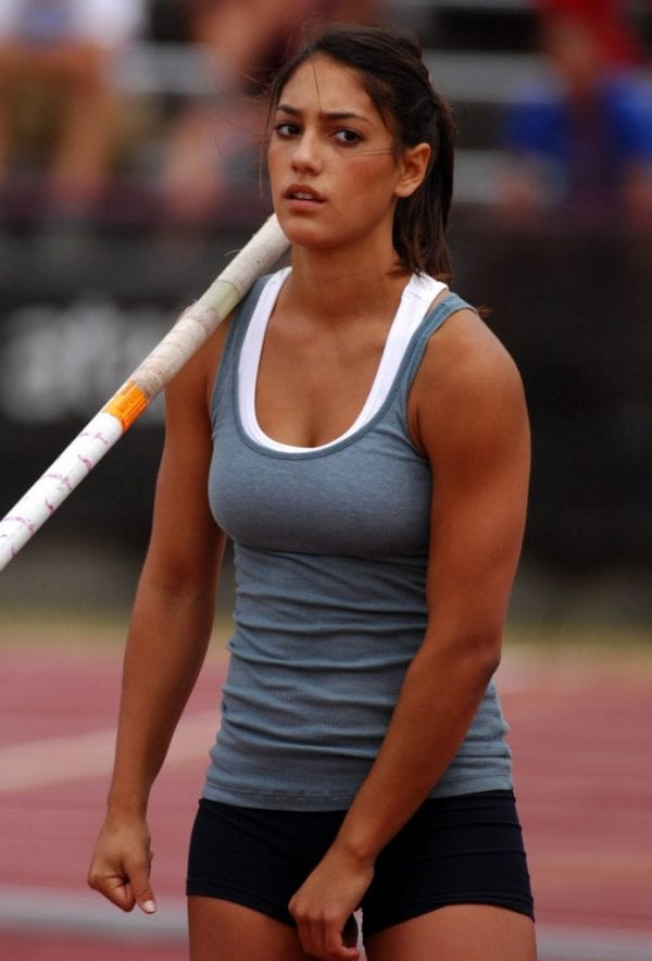 Allison Stokke rests after pole vaulting