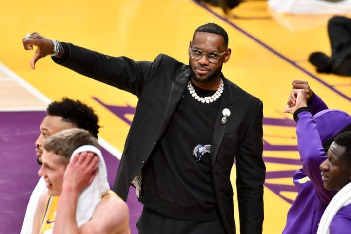 LOS ANGELES, CALIFORNIA - APRIL 09: LeBron James does not like a call against his team during a basketball game between the Los Angeles Lakers and the Portland Trail Blazers at Staples Center on April 09, 2019 in Los Angeles, California.
