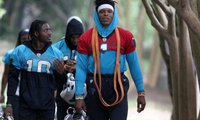 CHARLOTTE, NC - MAY 22: Curtis Samuel (10) wide receiver of Carolina and Cam Newton (1) quarterback of Carolina walk to the fields during an OTA practice on May 22, 2019, at the Carolina Panthers training facility in Charlotte, NC..