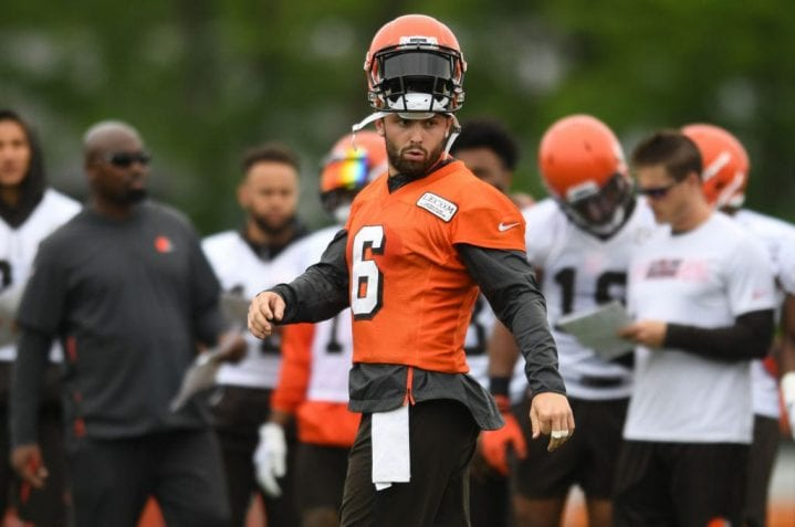 BEREA, OH - JUNE 4, 2019: Quarterback Baker Mayfield #6 of the Cleveland Browns on the field during a mandatory mini camp practice on June 4, 2019 at the Cleveland Browns training facility in Berea, Ohio.