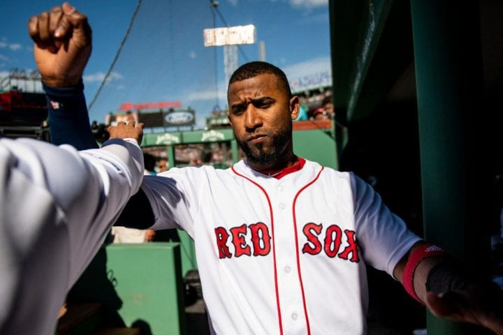 Eduardo Nunez #36 of the Boston Red Sox reacts before a game against the Toronto Blue Jays on June 22, 2019 at Fenway Park in Boston, Massachusetts.