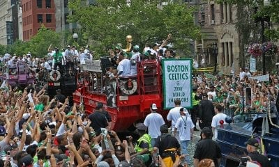 BOSTON - JUNE 19: The rolling rally parade to celebrate the Boston Celtics' NBA Championship title makes its way through the crowd near Copley Square on Thursday, June 19, 2008. (