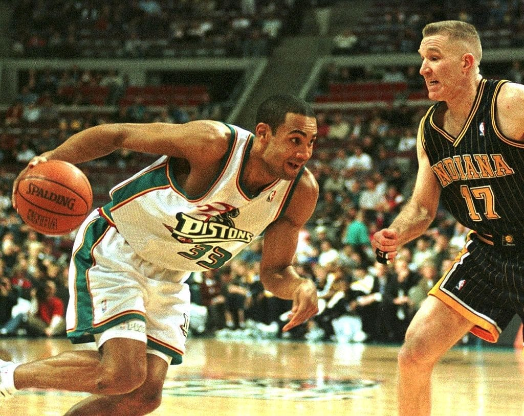 Grant Hill playing basketball in the 1990s