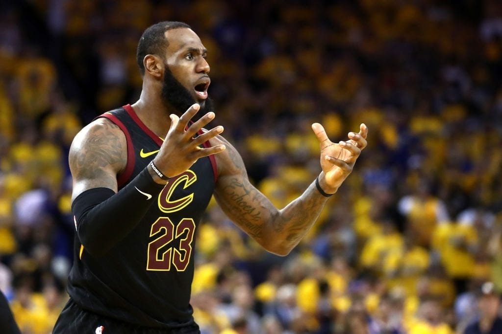 OAKLAND, CA - MAY 31: LeBron James #23 of the Cleveland Cavaliers reacts against the Golden State Warriors in Game 1 of the 2018 NBA Finals at ORACLE Arena on May 31, 2018 in Oakland, California. NOTE TO USER: User expressly acknowledges and agrees that, by downloading and or using this photograph, User is consenting to the terms and conditions of the Getty Images License Agreement.