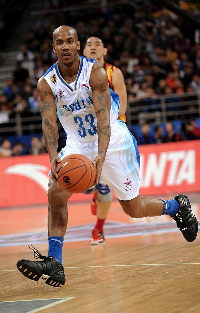 former NBA All Star with the Phoenix Suns, takes the ball during the CBA All Star game and was named the game's most valuable player, in Beijing.