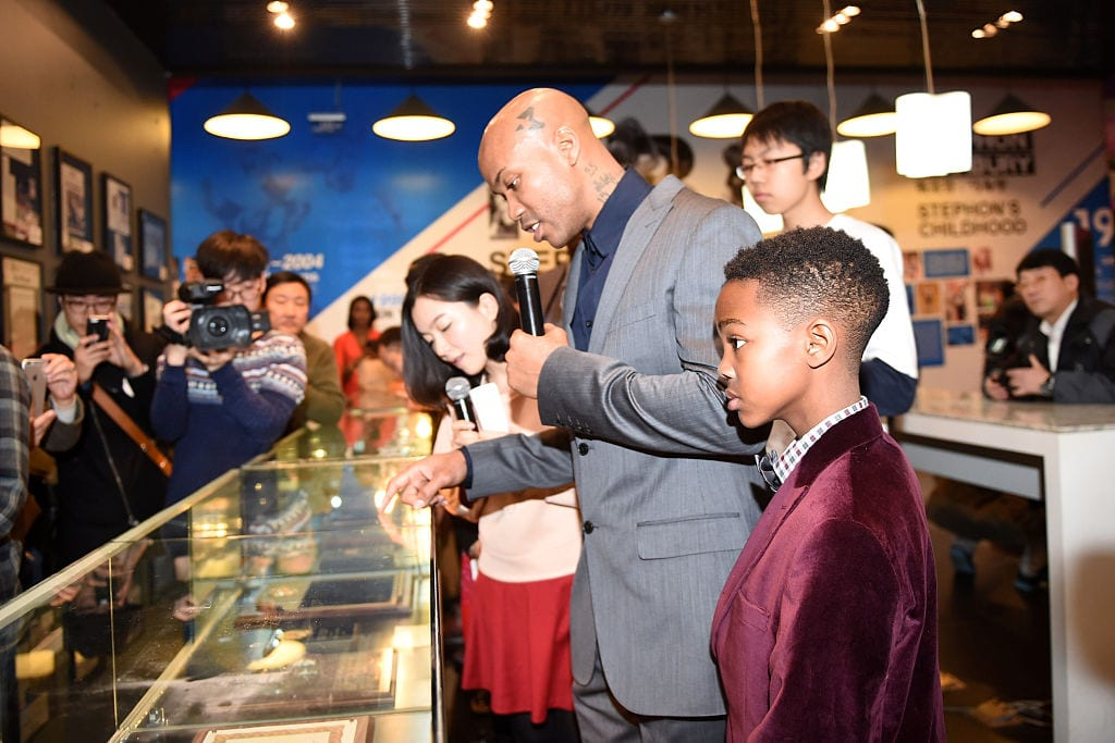 CBA star and former NBA player Stephon Marbury and his son visit Marbury's Home exhibition