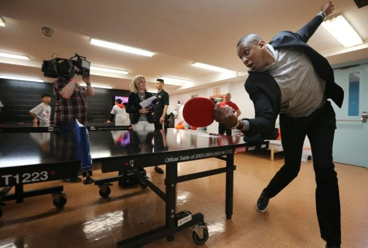 Raptors President Masai Ujiri plays table tennis. The NBA and the Toronto Raptors dedicated a new NBA Cares Learn and Play Centre at Jimmy Simpson Community Centre