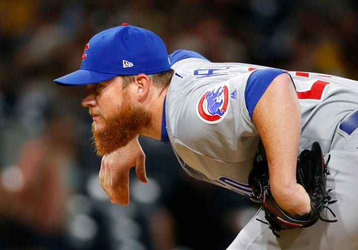 Craig Kimbrel #24 of the Chicago Cubs in action against the Pittsburgh Pirates at PNC Park on July 1, 2019 in Pittsburgh, Pennsylvania.