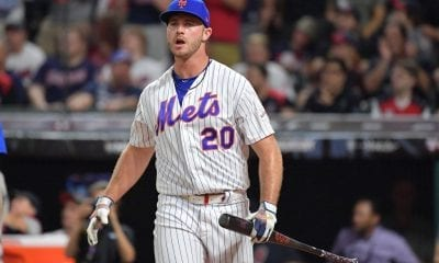 Pete Alonso of the New York Mets competes in the T-Mobile Home Run Derby at Progressive Field
