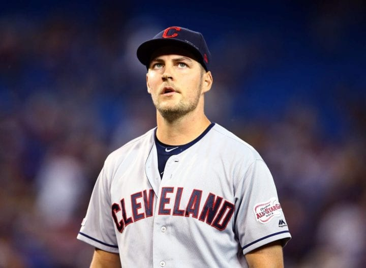 Trevor Bauer #47 of the Cleveland Indians leaves the field