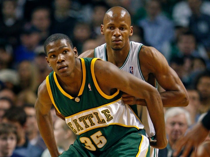 Sonics forward Kevin Durant battles Celtics guard Ray Allen