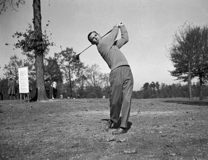 Ben Hogan is shown swinging his golf club during a three-way playoff