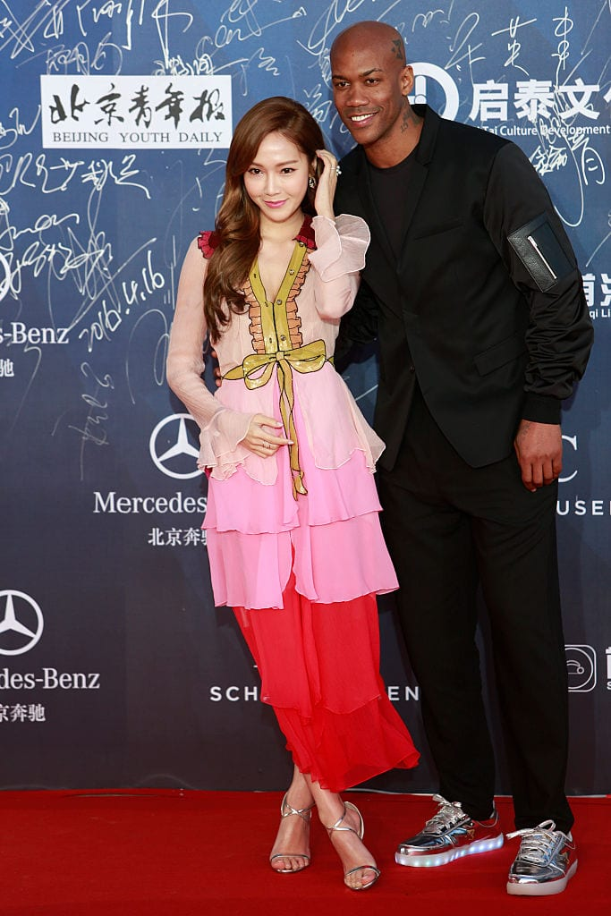 American basketball player Stephon Marbury, Korean-American singer and actress Jessica Jung arrive at the red carpet of the 6th Beijing International Film Festival