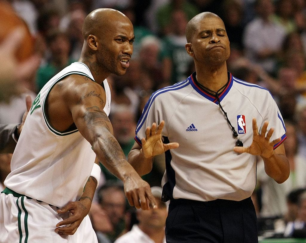 Stephon Marbury #8 of the Boston Celtics tries to discuss a call with referee Sean Corbin after a foul is called against the Celtics in the overtime period against the Chicago Bulls in Game Five of the Eastern Conference Quarterfinals during the 2009 NBA Playoffs