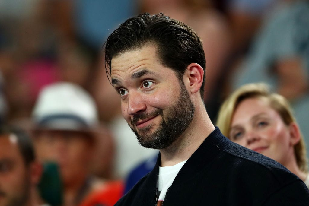 Alexis Ohanian, husband of Serena Williams watches on from the stands during her second round match against Eugene Bouchard of Canada during day four of the 2019 Australian Open at Melbourne Park on January 17, 2019 in Melbourne, Australia.