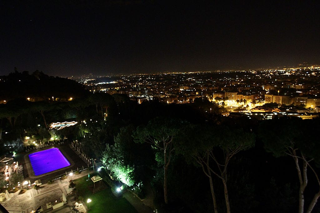 "A panoramic view of Rome from the Hotel Cavalieri Hilton during the World Restoration Premiere Of ""La Dolce Vita"" Dinner Hosted by Gucci"