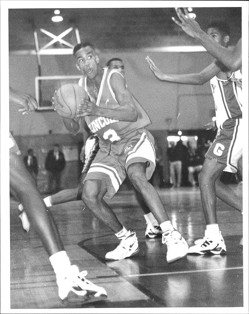 Lincoln High star (3) Stephon Marbury moves the ball with authority enroute to a Lincoln High win over Grady High. December 13, 1994.