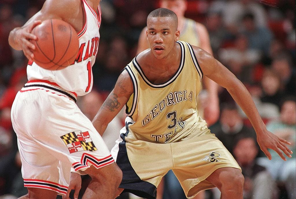 3 Feb 1996: Stephon Marbury of Georgia Tech during the Yellow Jackets 88-74 loss to the University of Maryland in an ACC matchup at Cole Field House Arena in College Park, Maryland.