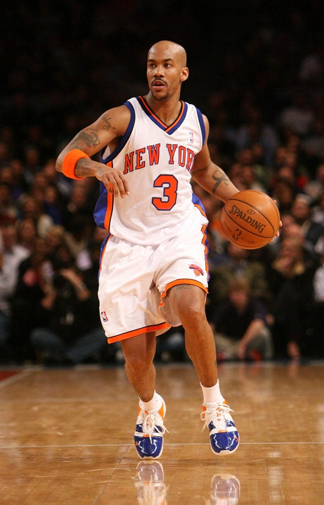 Stephon Marbury #3 of the New York Knicks runs the ball down court against the Sacramento Kings on January 2, 2008
