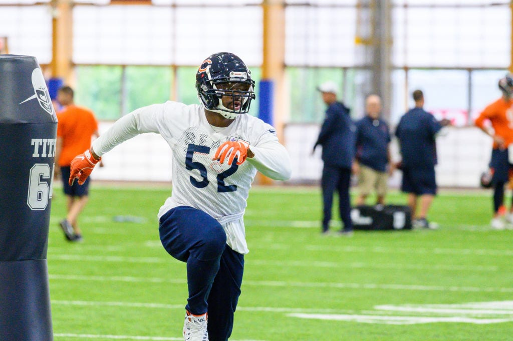 Chicago Bears outside linebacker Khalil Mack (52) warms up during the Chicago Bears Veteran Minicamp on June 12, 2019 at Halas Hall,