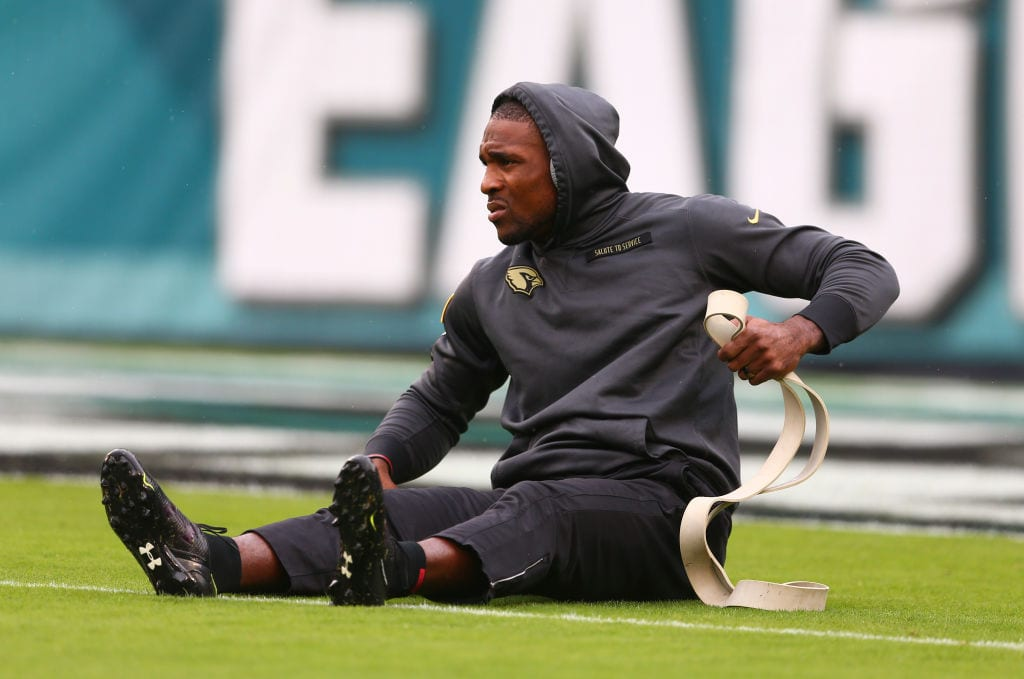 Patrick Peterson #21 of the Arizona Cardinals warms up prior to the game against the Philadelphia Eagles at Lincoln Financial Field