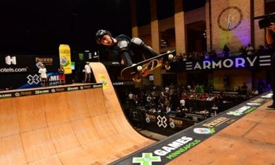 Mitchie Brusco competing in Pacifico Skateboard Vert during X Games Minneapolis 2019