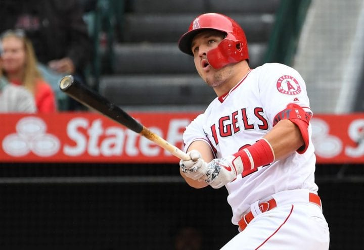 Mike Trout #27 of the Los Angeles Angels of Anaheim hits a RBI double
