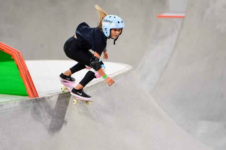 Sky Brown competing in Women's Skateboard Park
