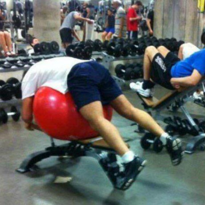 Funny gym photo exercise ball