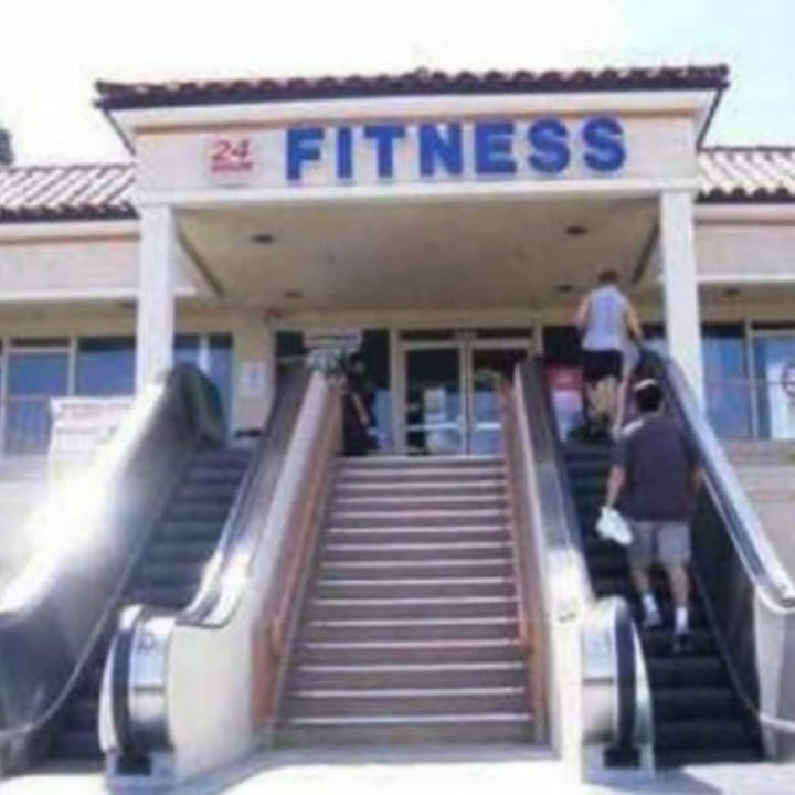 Funny gym photo escalator