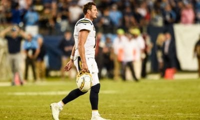 Los Angeles Chargers quarterback Philip Rivers (17) walks off the field after they fumbled on the goal line