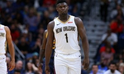Zion Williamson #1 of the New Orleans Pelicans reacts during a game