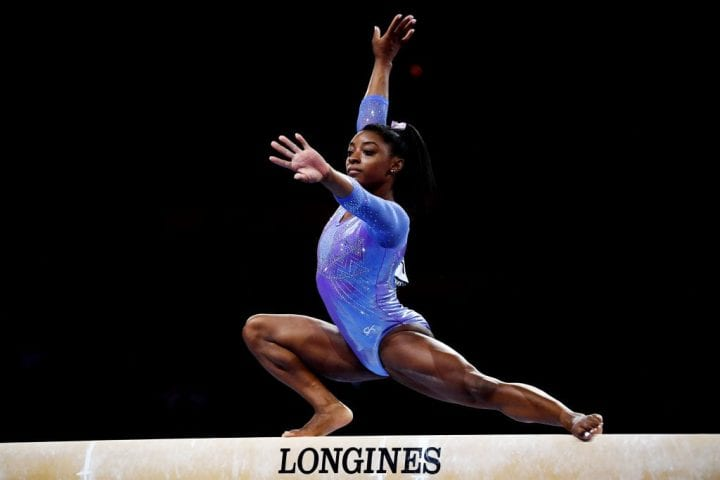 Simone Biles of The United States competes in Women's Balance beam Final