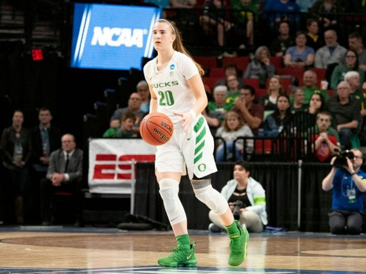 Oregon Ducks guard Sabrina Ionescu (20) dribbles the ball down court