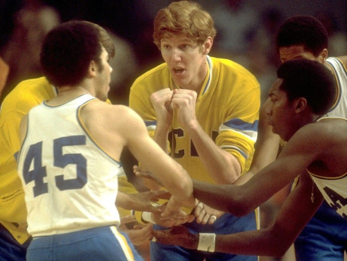 UCLA center Bill Walton with team mates before the start of the Final Four National Basketball Championship game