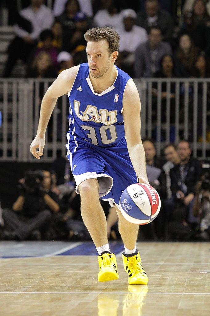 Jason Sudeikis plays at the 2011 BBVA NBA All-Star Celebrity Game at the Los Angeles Convention Center