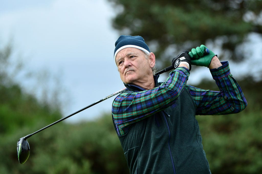 Actor Bill Murray tees off on the 14th hole during Day two of the Alfred Dunhill Links Championship at Carnoustie Golf Links