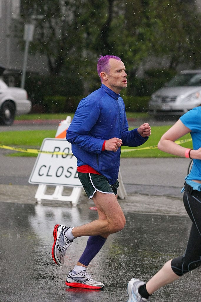 Flea of the Red Hot Chili Peppers runs in The LA Marathon on March 20, 2011 i