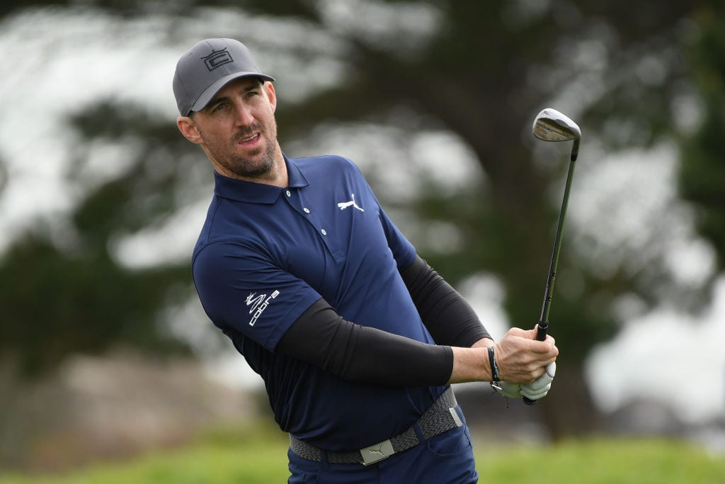 Musician Jake Owen plays a shot on the eighth hole during the third round of the AT&T Pebble Beach Pro-Am at Pebble Beach Golf Links