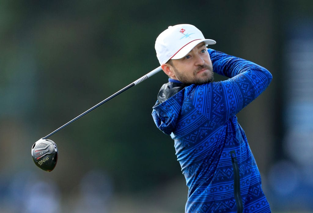 Justin Timberlake the American musician plays his tee shot on the fourth hole during the third round of the Alfred Dunhill Links Championship